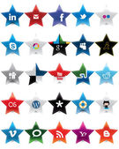Star Social Media icons — Vettoriale Stock
