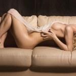 Slim beautiful woman laying on sofa — Stock Photo #43590135
