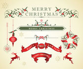 Vector Set: Christmas Calligraphic Design Elements and Page Decoration, Vintage Frames — Vector de stock