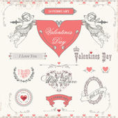 Valentine's day labels, icons elements collection — Stok Vektör