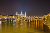 Stone Bridge across the Ebro River at Zaragoza, Spain — Stock Photo