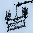 Palau Maricel sign in Sitges Spain - Stockfoto