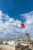 Malta flag in Valletta — Stock Photo