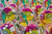 Salad fruits at Boqueria Market in Barcelona, Spain — Stock Photo