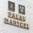 Palau Maricel sign in Sitges Spain — Stock Photo