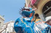 シッチェス、スペインの主要なフェスタで drac の幻想的な図 — ストック写真