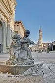 Our Lady of the Pillar square at Zaragoza, Spain — Stock Photo