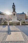 Mozart statue on Mozart Square (Mozartplatz) at Salzburg, Austri — Stock Photo