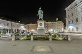 Mozart statue on Mozart Square (Mozartplatz) at Salzburg, Austri — Stock Photo