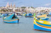 Harbor of Marsaxlokk, a fishing village in Malta. — Stock Photo