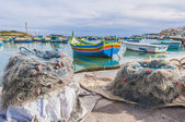 Kajjik Boat at Marsaxlokk harbor in Malta. — Stock Photo