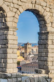 Aqueduct of Segovia at Castile and Leon, Spain — Stok fotoğraf