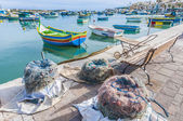 Kajjik Boat at Marsaxlokk harbor in Malta. — Stockfoto