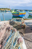 Kajjik Boat at Marsaxlokk harbor in Malta. — Stock Photo