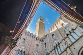 Public Palace and it's Mangia Tower in Siena, Italy — Stock Photo