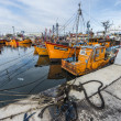Orange fishing boats in Mar del Plata, Argentina — Stok fotoğraf