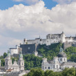 Stock Photo: Salzburg Fortress (Festung Hohensalzburg) seen from Salzach rive
