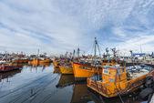Orange fishing boats in Mar del Plata, Argentina — 图库照片