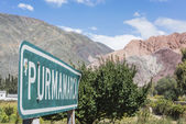 Sign near Hill of Seven Colors in Jujuy, Argentina. — Stock Photo