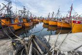 Orange fishing boats in Mar del Plata, Argentina — Foto de Stock