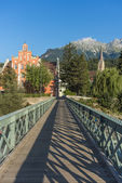Innsteg bridge in Innsbruck, Upper Austria. — Stockfoto