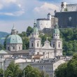 Stock Photo: Salzburg cathedral seen from Salzach river, Austria