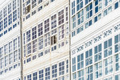 Wooden glazed windows in A Coruna, Galicia, Spain. — Foto Stock