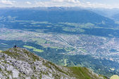 Hikers at Norkette mountain, Innsbruck, Austria. — Stock Photo