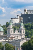 Salzburg cathedral seen from Salzach river, Austria — Stock Photo