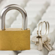Stock Photo: Padlock with keys on keyboard