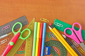 School supplies on the wooden table — Stok fotoğraf