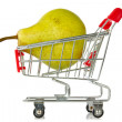 Shopping cart with green pear — Stock Photo #12592541