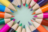 Circle of colored pencils — Foto Stock