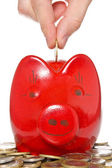 Hand putting coin into the piggy bank — Stock Photo