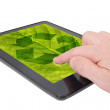 Tablet computer with recycle symbol — Stock Photo
