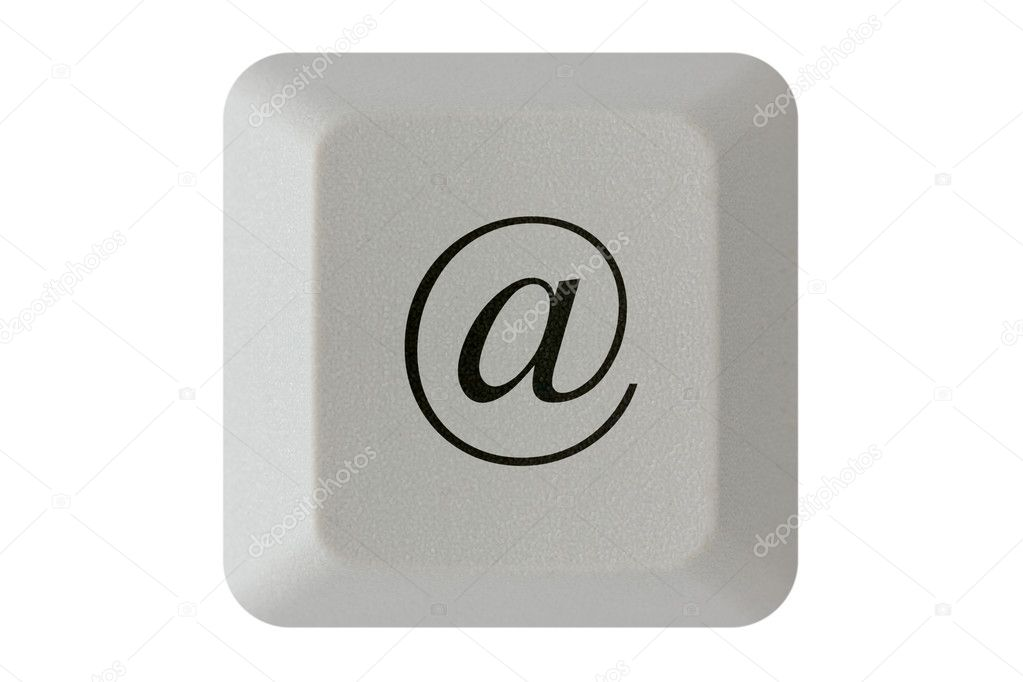 Computer keyboard key with E-mail symbol. Isolated on white background. — Stock Photo #13545932