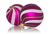 Purple christmas baubles — Stock Photo