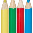 Yellow,green,red and blue pencil — Stock Photo