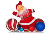 Santa claus with christmas baubles — Stock Photo