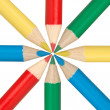 Foto de Stock  : Circle of multicolored pencils