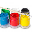 Color gouache with paintbrush — Stock Photo