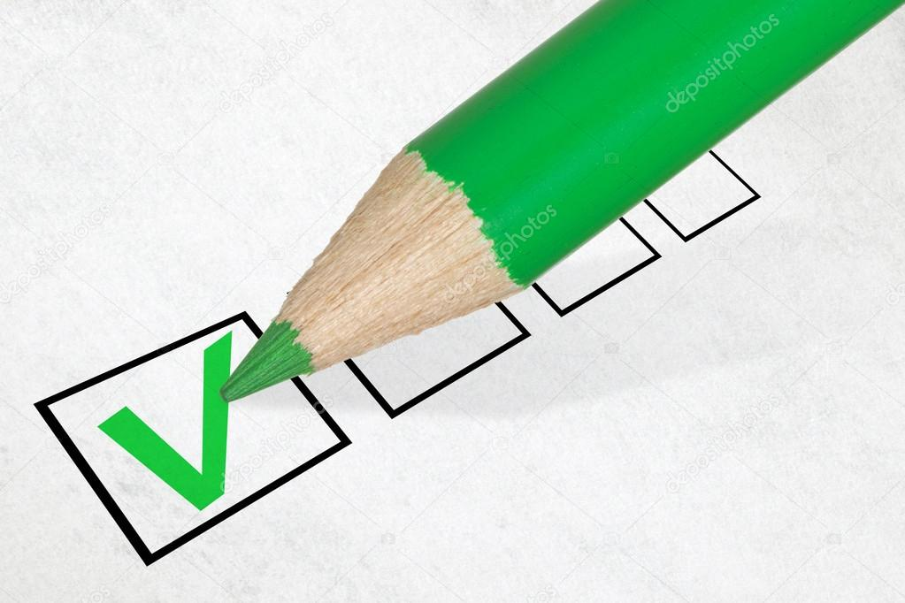 Green pencil marking check box. Concept for customer satisfaction survey or education research — Stock Photo #15267843