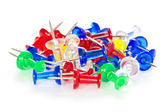 Pile of colorful pushpins — Stock Photo
