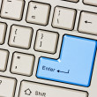 Computer keyboard with blue Enter key — Stock Photo