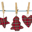 Christmas decorations hang on the clothesline — Stock Photo