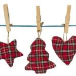Christmas decorations hang on the clothesline — Stock Photo