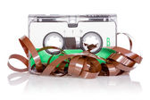 Audio cassette with pulled out tape — Stockfoto