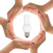 Hands with light bulb — Stok Fotoğraf #23691357