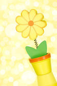 Flower on a blurry yellow background — Stok fotoğraf