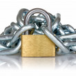 Yellow metal padlock and chain — Stock Photo